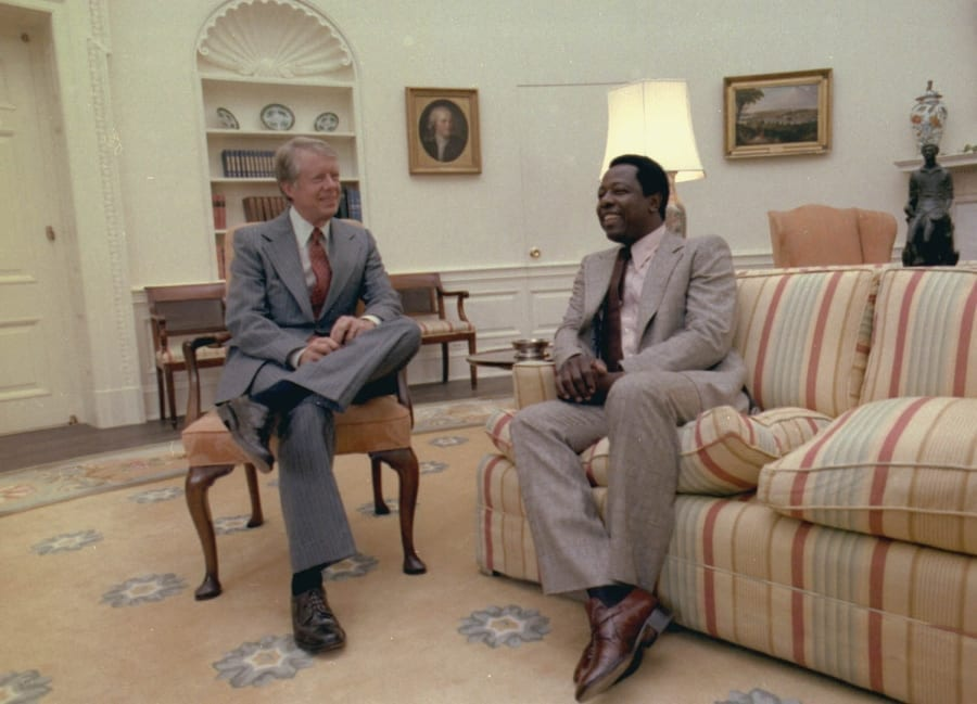 Hank Aaron and President Jimmy Carter