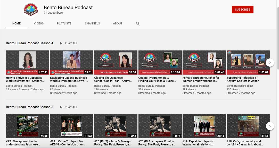Bento Bureau Podcast on YouTube, Business in Japan
