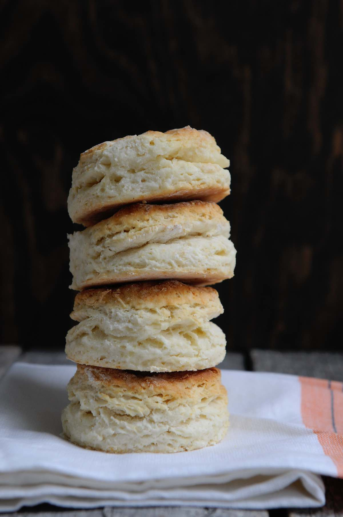 tall stack of buttery biscuits, The Baker